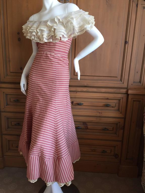1930's Sweet Stripe Day Dress with Lace Bust and Hem 7