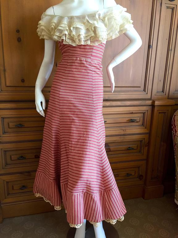 1930's Sweet Stripe Day Dress with Lace Bust and Hem 2