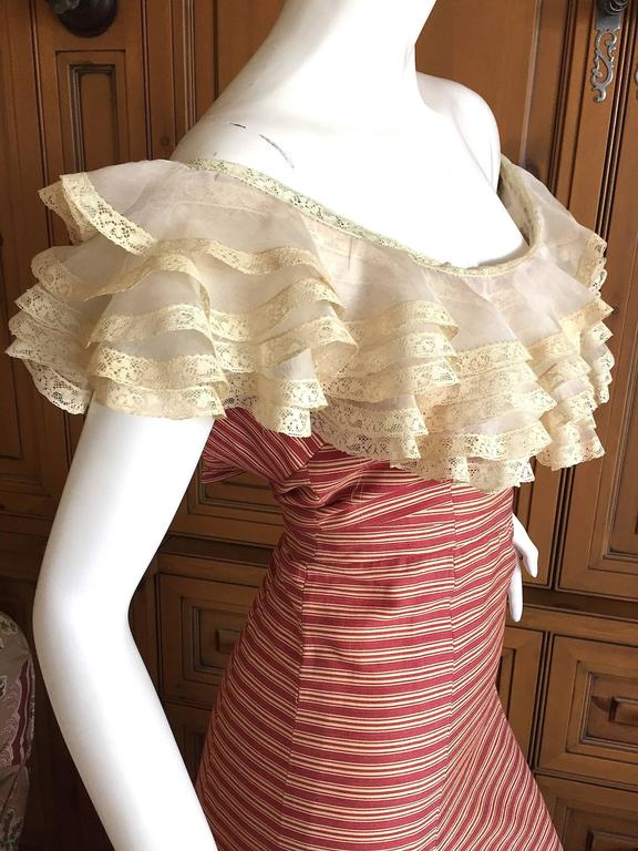 1930's Sweet Stripe Day Dress with Lace Bust and Hem 3