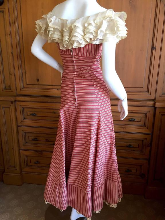 1930's Sweet Stripe Day Dress with Lace Bust and Hem 4