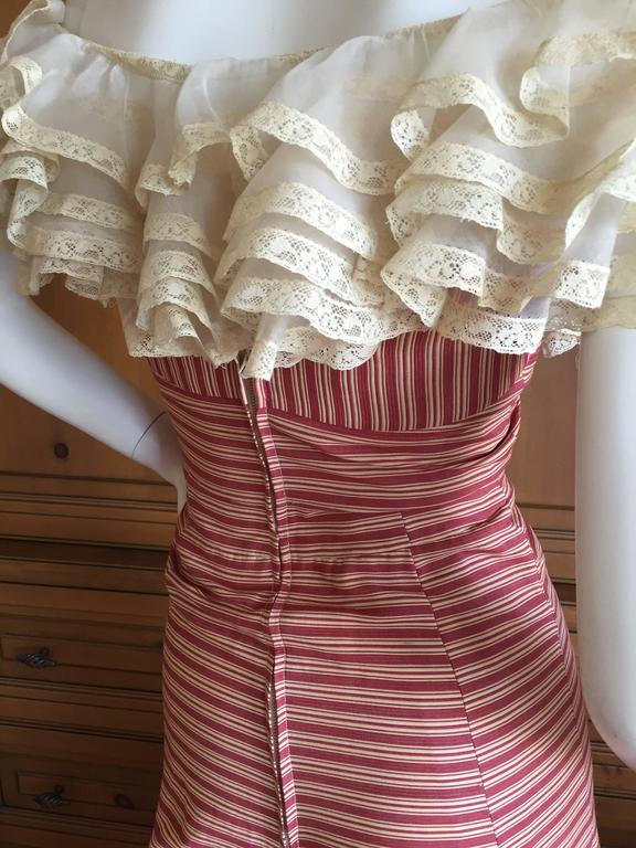 1930's Sweet Stripe Day Dress with Lace Bust and Hem 6