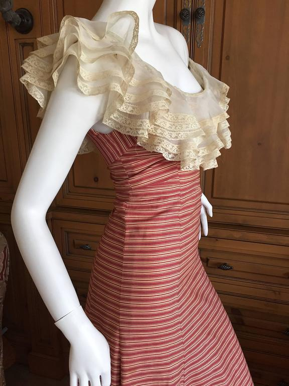1930's Sweet Stripe Day Dress with Lace Bust and Hem 5