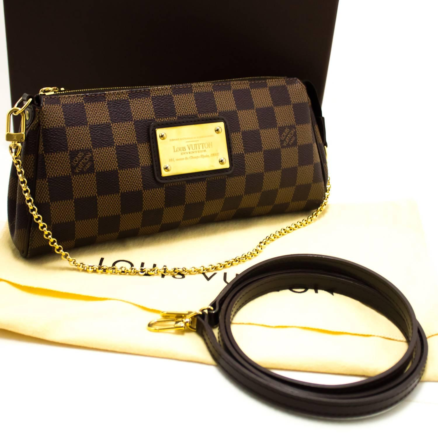 1stdibs Louis Vuitton Eva Ebene Damier Canvas Shoulder Bag Handbag Gold yha0B