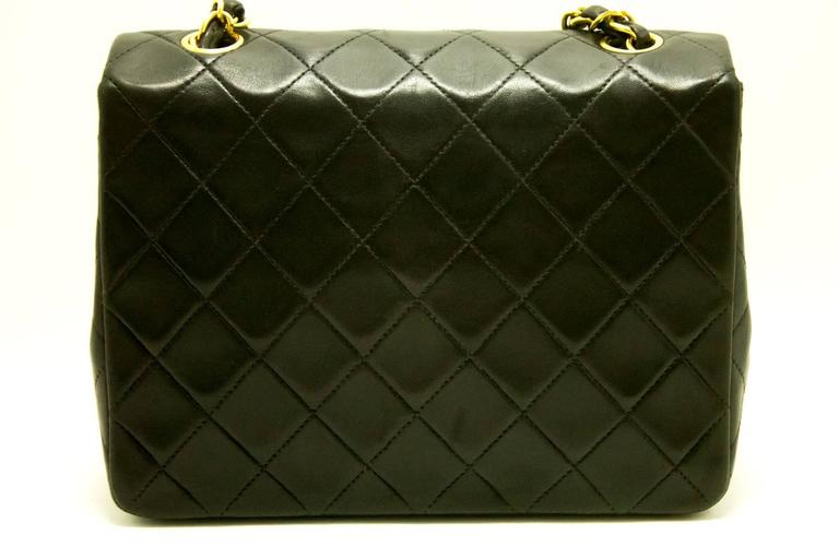 Authentic CHANEL Mini Small Chain Shoulder Bag Crossbody Black Quilted Flap d96 5