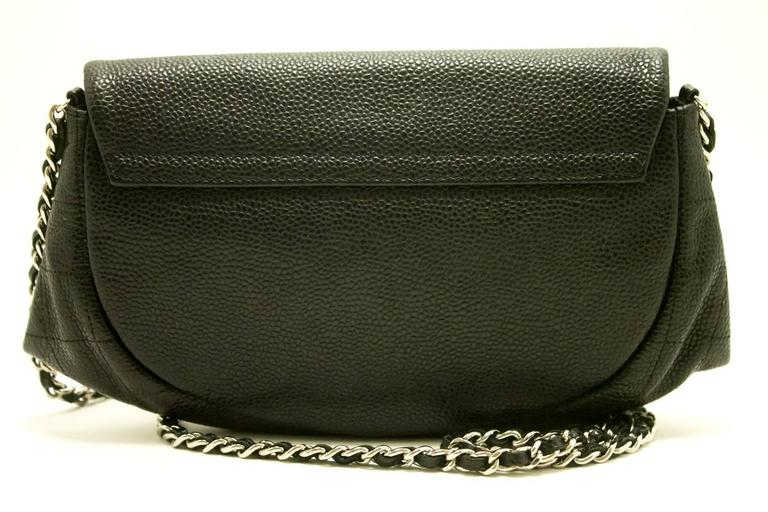 Authentic CHANEL Caviar Half Moon WOC Wallet On Chain Clutch Shoulder Bag f05 5