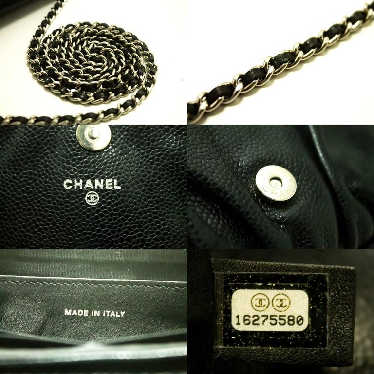 Authentic CHANEL Caviar Half Moon WOC Wallet On Chain Clutch Shoulder Bag f05 8