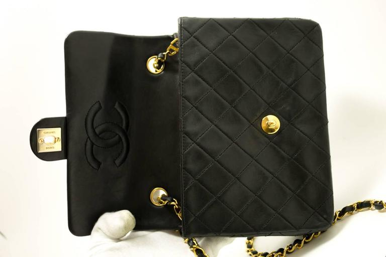 CHANEL Mini Small Chain Shoulder Bag Crossbody Black Quilted Flap  9