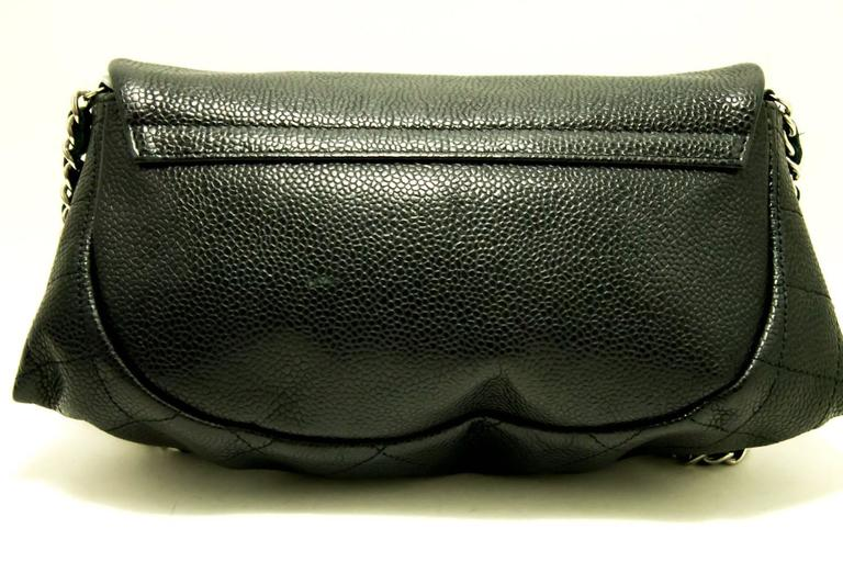 Black CHANEL Caviar Half Moon WOC Wallet On Chain Clutch Shoulder Bag  For Sale