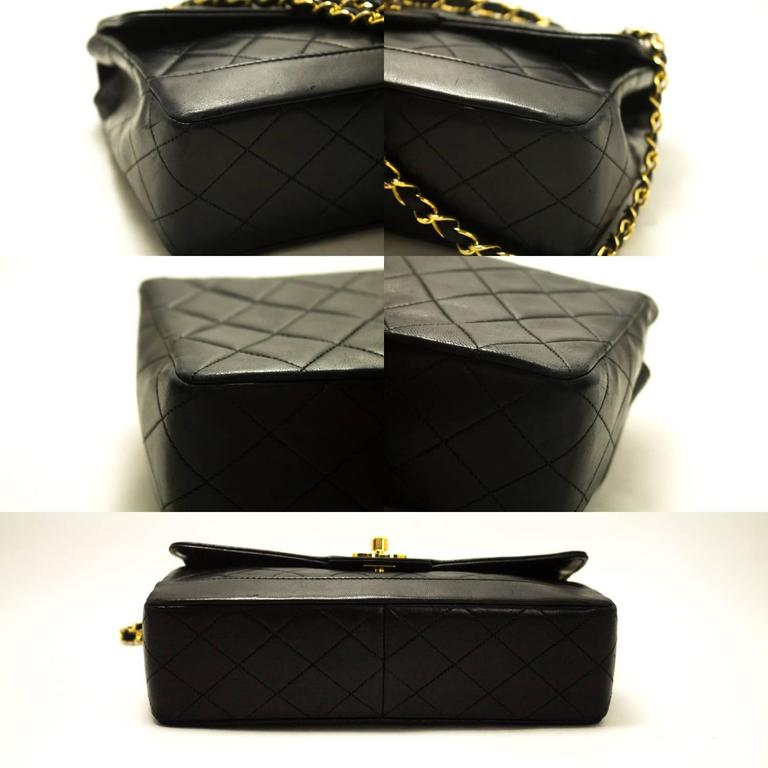 CHANEL Single Flap Chain Shoulder Bag Black Quilted Lambskin  4