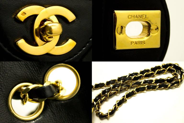 CHANEL Single Flap Chain Shoulder Bag Black Quilted Lambskin  5