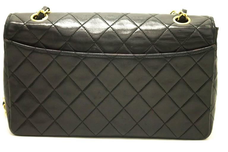 CHANEL Single Flap Chain Shoulder Bag Black Quilted Lambskin  9