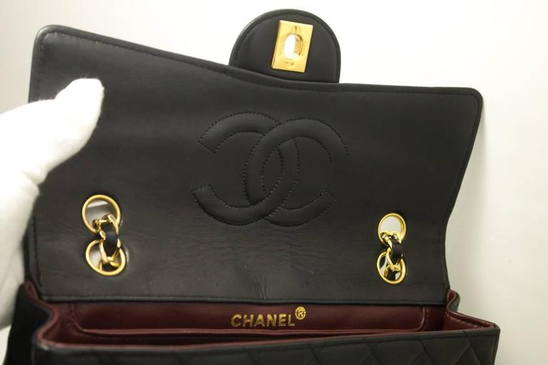 CHANEL Single Flap Chain Shoulder Bag Black Quilted Lambskin  8