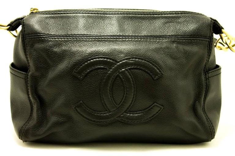 CHANEL Caviar Chain One Shoulder Bag 2004 Black Leather Zippered  2
