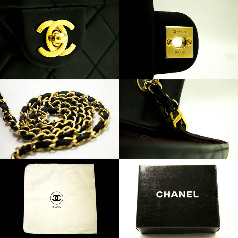 CHANEL Mini Small Chain Shoulder Bag Crossbody Black Quilted Flap  10