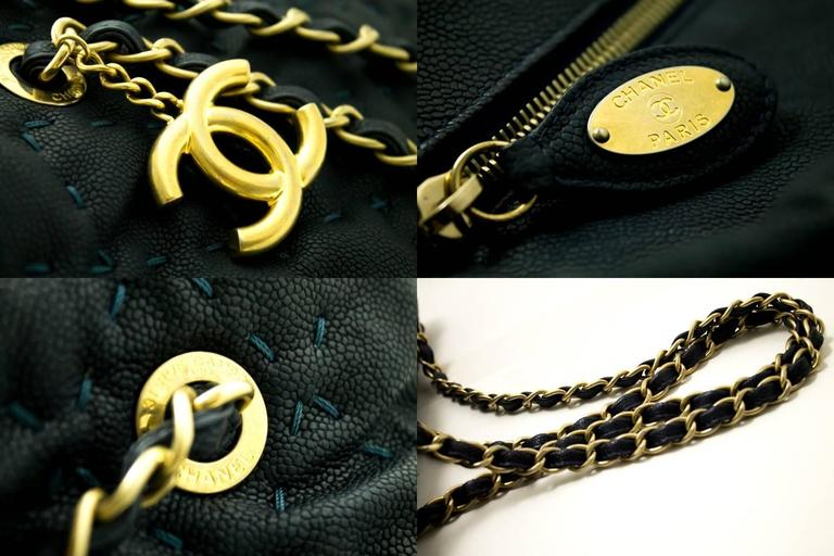 CHANEL 2011 Caviar Chain Shoulder Bag Navy Quilted Leather Stitch  For Sale 1