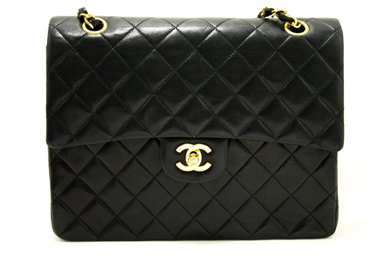CHANEL Double Flap Chain Shoulder Bag Black Quilted Lambskin  2