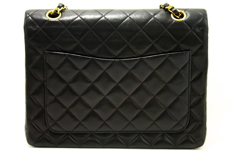 CHANEL Double Flap Chain Shoulder Bag Black Quilted Lambskin  3