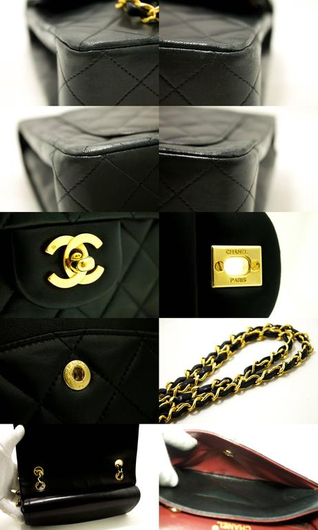 CHANEL Double Flap Chain Shoulder Bag Black Quilted Lambskin  5