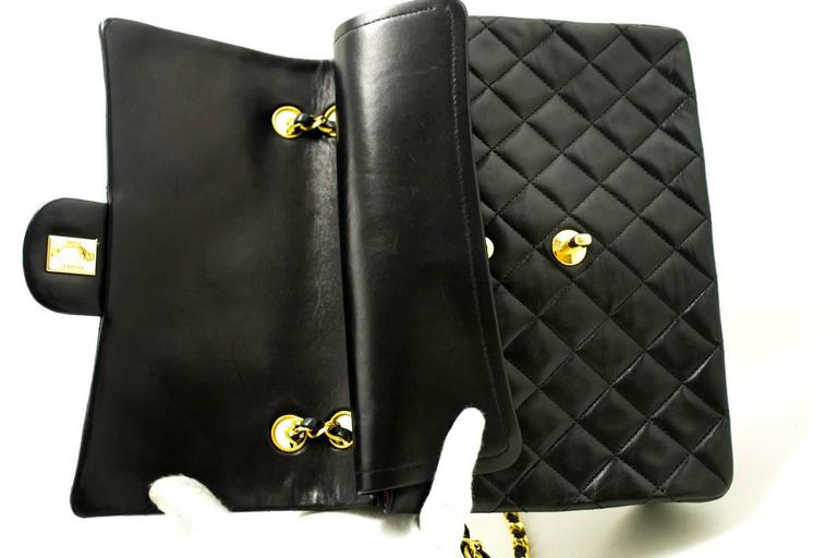 CHANEL Double Flap Chain Shoulder Bag Black Quilted Lambskin  7