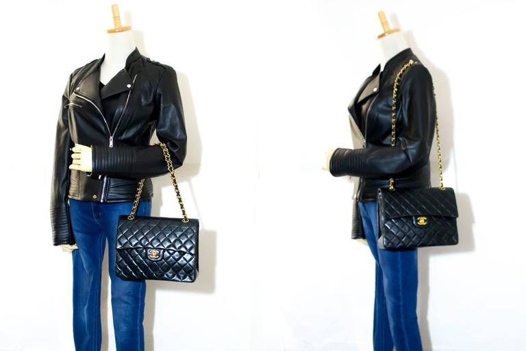 CHANEL Double Flap Chain Shoulder Bag Black Quilted Lambskin  8