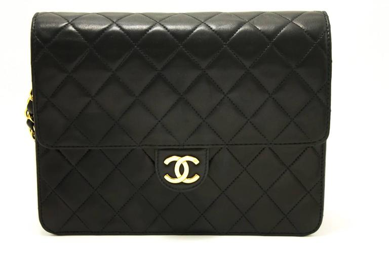 CHANEL Chain Shoulder Bag Clutch Black Quilted Flap Lambskin  2