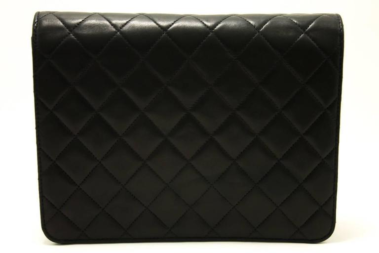 CHANEL Chain Shoulder Bag Clutch Black Quilted Flap Lambskin  3