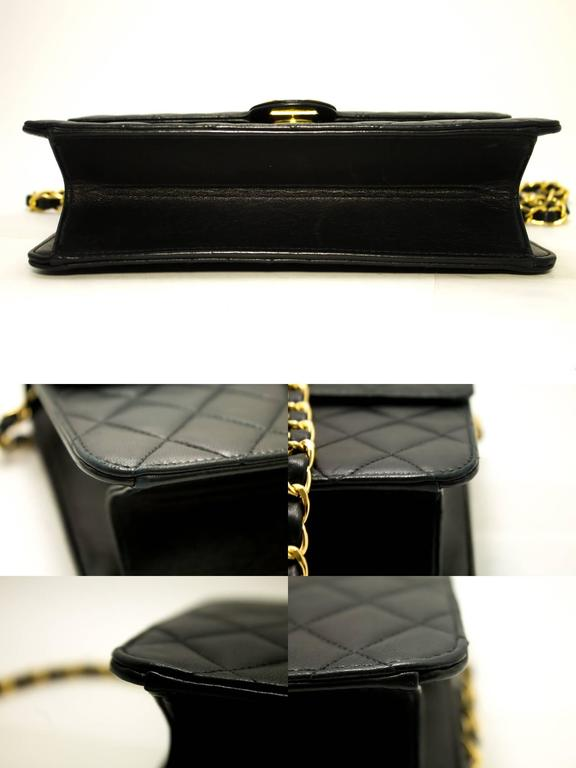 CHANEL Chain Shoulder Bag Clutch Black Quilted Flap Lambskin  5