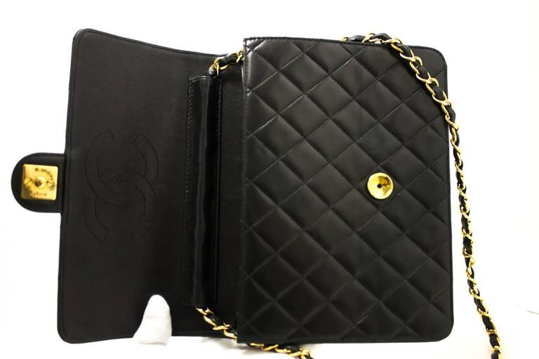 CHANEL Chain Shoulder Bag Clutch Black Quilted Flap Lambskin  8