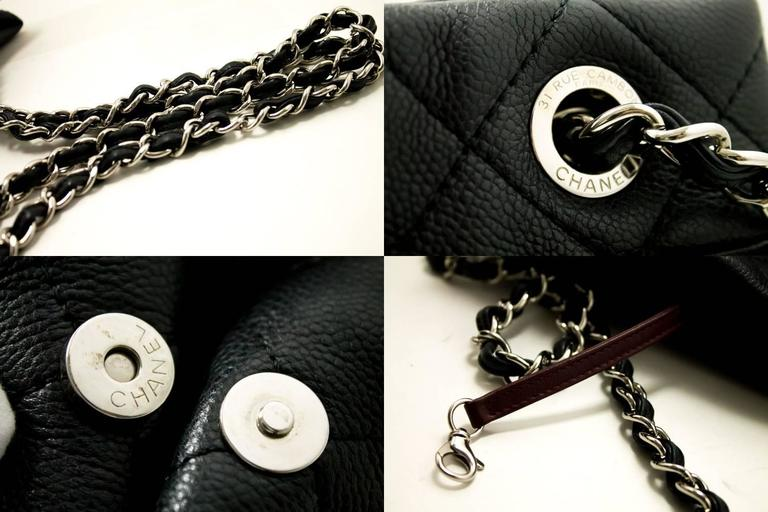 CHANEL Caviar Chain Shoulder Bag Crossbody Black Silver Quilted  6