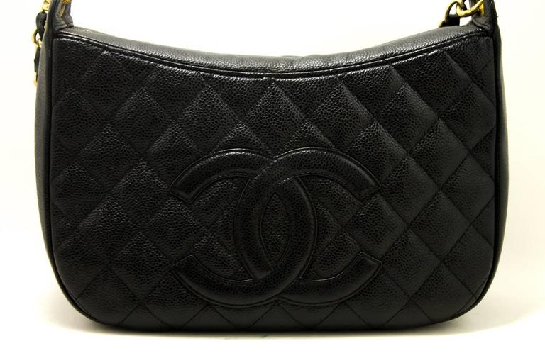 CHANEL Caviar Chain One Shoulder Bag Black Quilted Leather Zipper  2