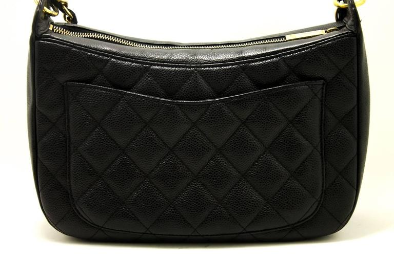 CHANEL Caviar Chain One Shoulder Bag Black Quilted Leather Zipper  3