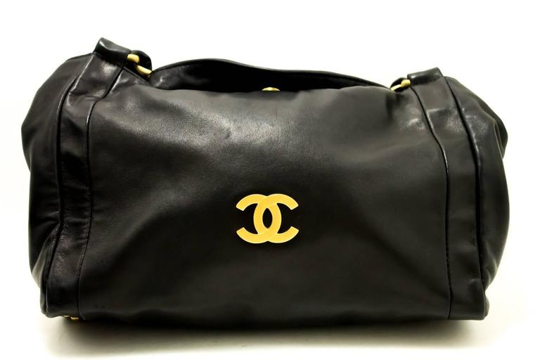 CHANEL 2003 Gold Chain Shoulder Bag Black Lambskin Leather Purse  2