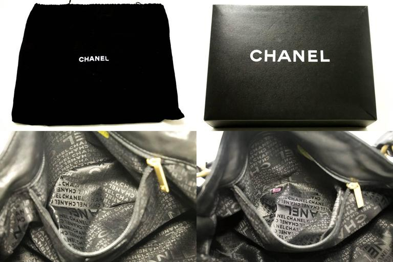 CHANEL 2003 Gold Chain Shoulder Bag Black Lambskin Leather Purse  10