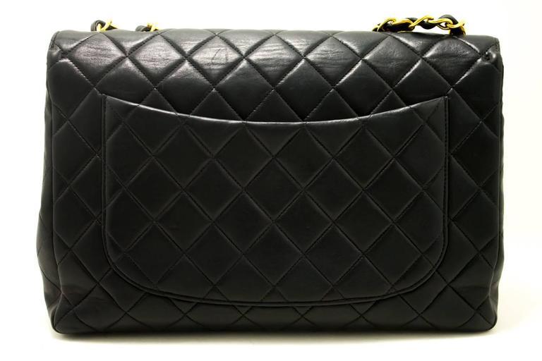 "CHANEL Jumbo 11"" Large Chain Shoulder Bag Crossbody Black Flap  In Good Condition For Sale In Takamatsu-shi, JP"