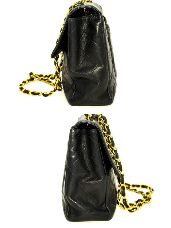 "CHANEL Jumbo 11"" Large Chain Shoulder Bag Crossbody Black Flap  4"