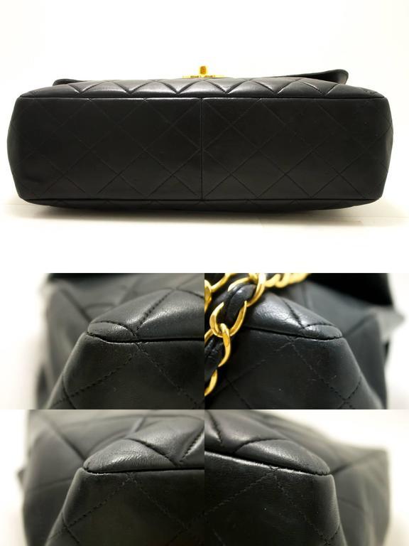 "CHANEL Jumbo 11"" Large Chain Shoulder Bag Crossbody Black Flap  5"