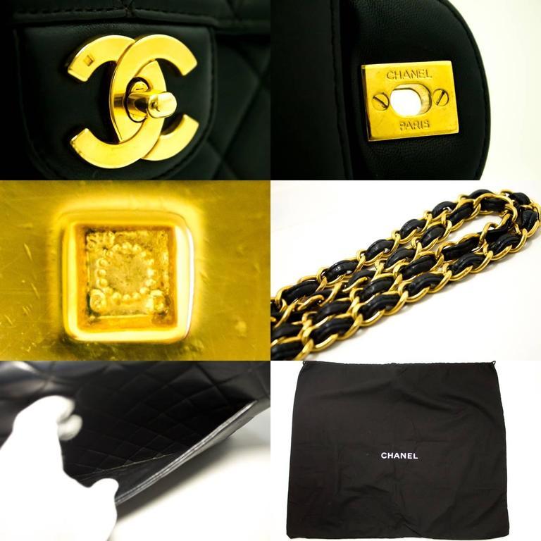 "CHANEL Jumbo 11"" Large Chain Shoulder Bag Crossbody Black Flap  6"