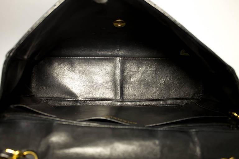 "CHANEL Jumbo 11"" Large Chain Shoulder Bag Crossbody Black Flap  For Sale 5"