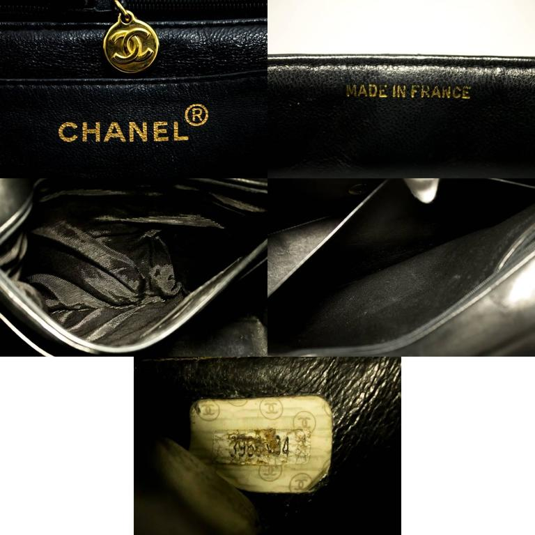 "CHANEL Jumbo 11"" Large Chain Shoulder Bag Crossbody Black Flap  For Sale 6"