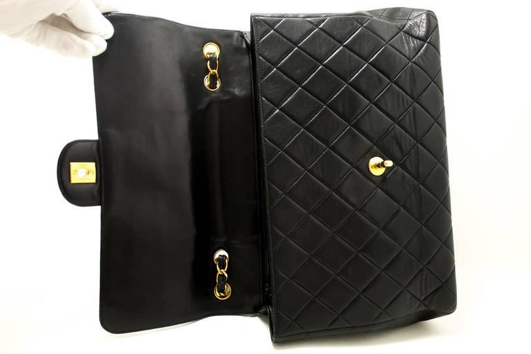 "CHANEL Jumbo 11"" Large Chain Shoulder Bag Crossbody Black Flap  For Sale 4"