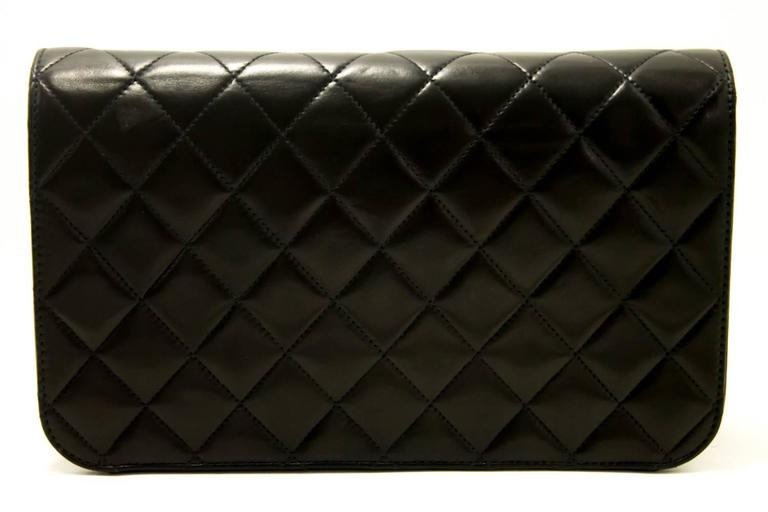 CHANEL Chain Shoulder Bag Clutch Black Quilted Flap Lambskin Purse  3