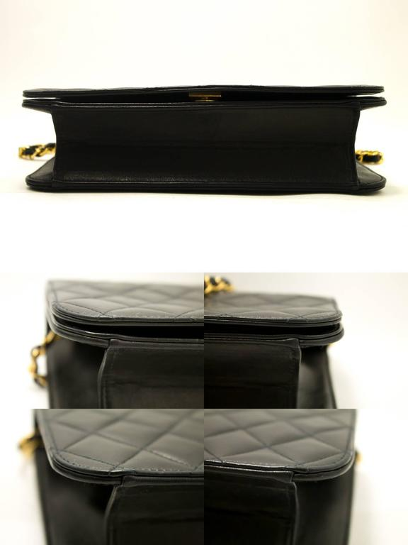 CHANEL Chain Shoulder Bag Clutch Black Quilted Flap Lambskin Purse  5