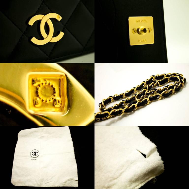 CHANEL Chain Shoulder Bag Clutch Black Quilted Flap Lambskin Purse  7