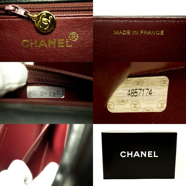 CHANEL Chain Shoulder Bag Clutch Black Quilted Flap Lambskin Purse  8