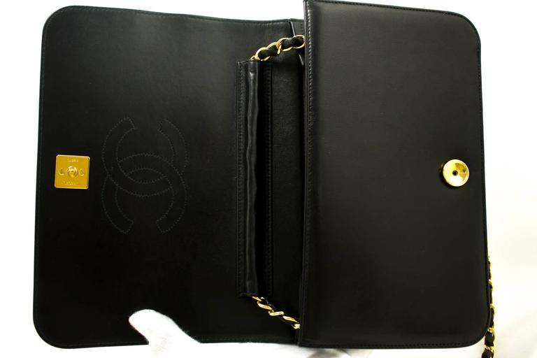 CHANEL Chain Shoulder Bag Clutch Black Quilted Flap Lambskin Purse  9
