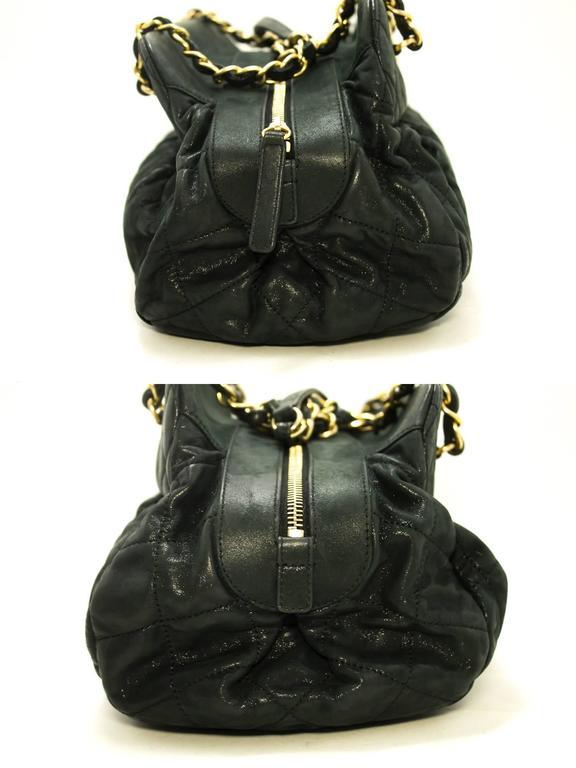 Chanel 2012 Hobo Shoulder Bag Black Quilted Leather