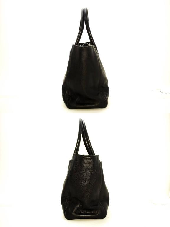 09c441b0d459 Women s CHANEL Executive Tote Caviar Shoulder Bag Black Silver Leather For  Sale