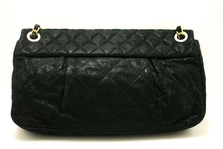 CHANEL Glitter Coated Leather Chain Shoulder Bag Black Quilted  In Excellent Condition For Sale In Takamatsu-shi, JP