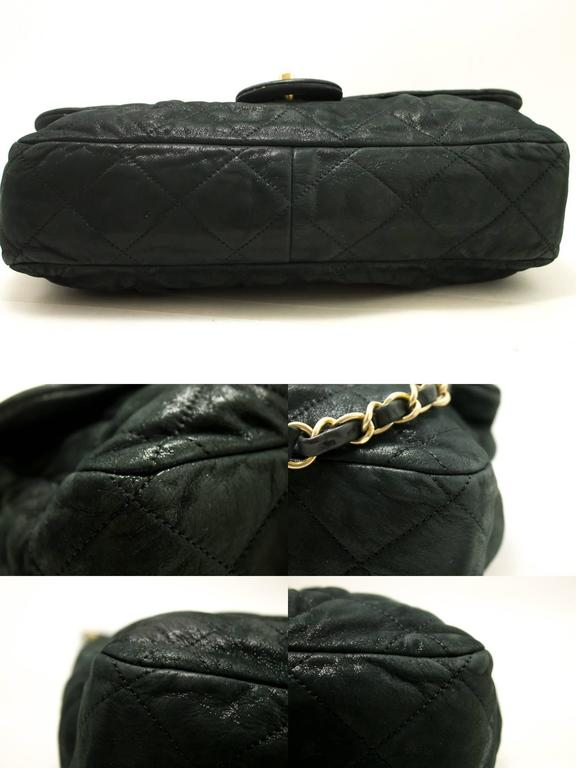 CHANEL Glitter Coated Leather Chain Shoulder Bag Black Quilted  For Sale 1