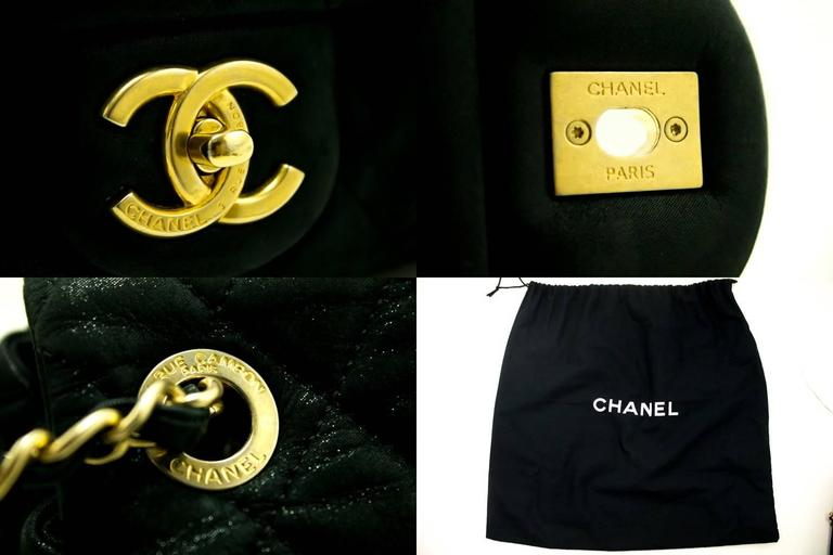 CHANEL Glitter Coated Leather Chain Shoulder Bag Black Quilted  For Sale 2